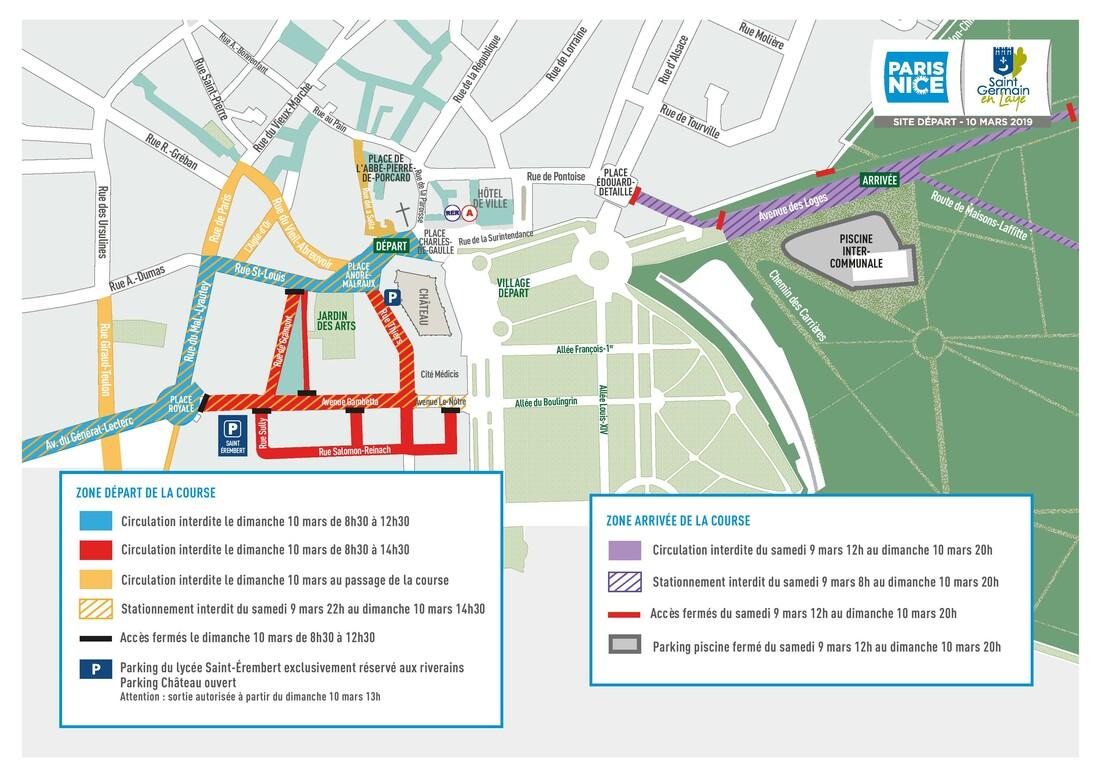 plan de restriction de circulation et de stationnement pendant le Paris-Nice