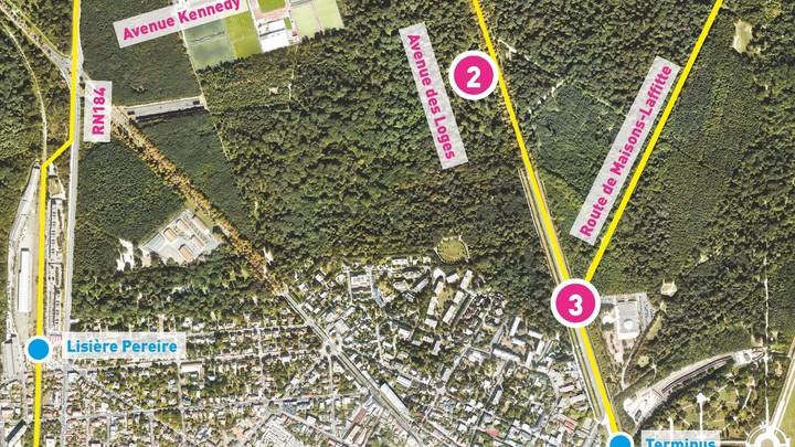 Vue aérienne du tracé du Tram 13 express