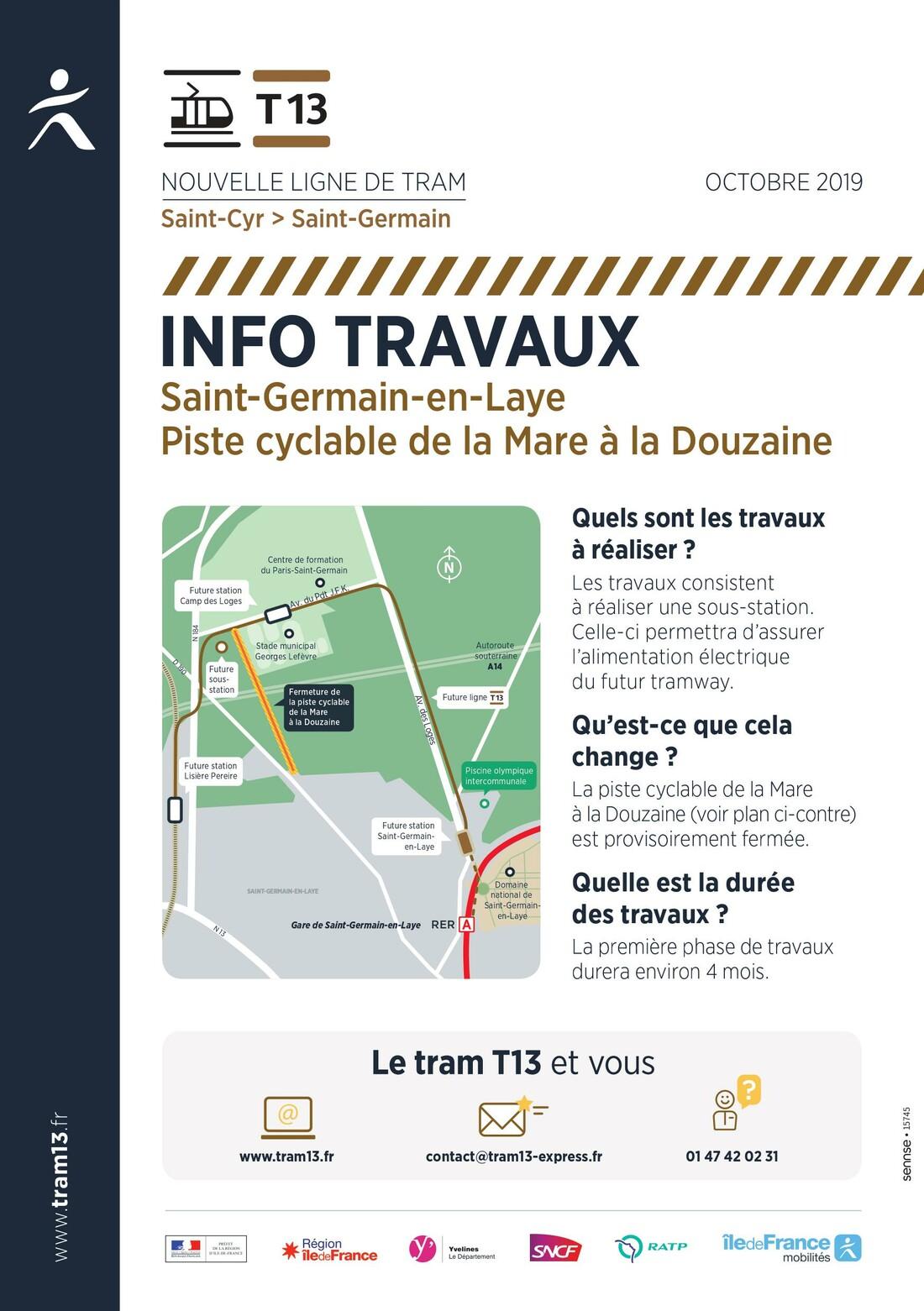 Plan de fermeture provisoire de la piste cyclable de la Mare à la Douzaine