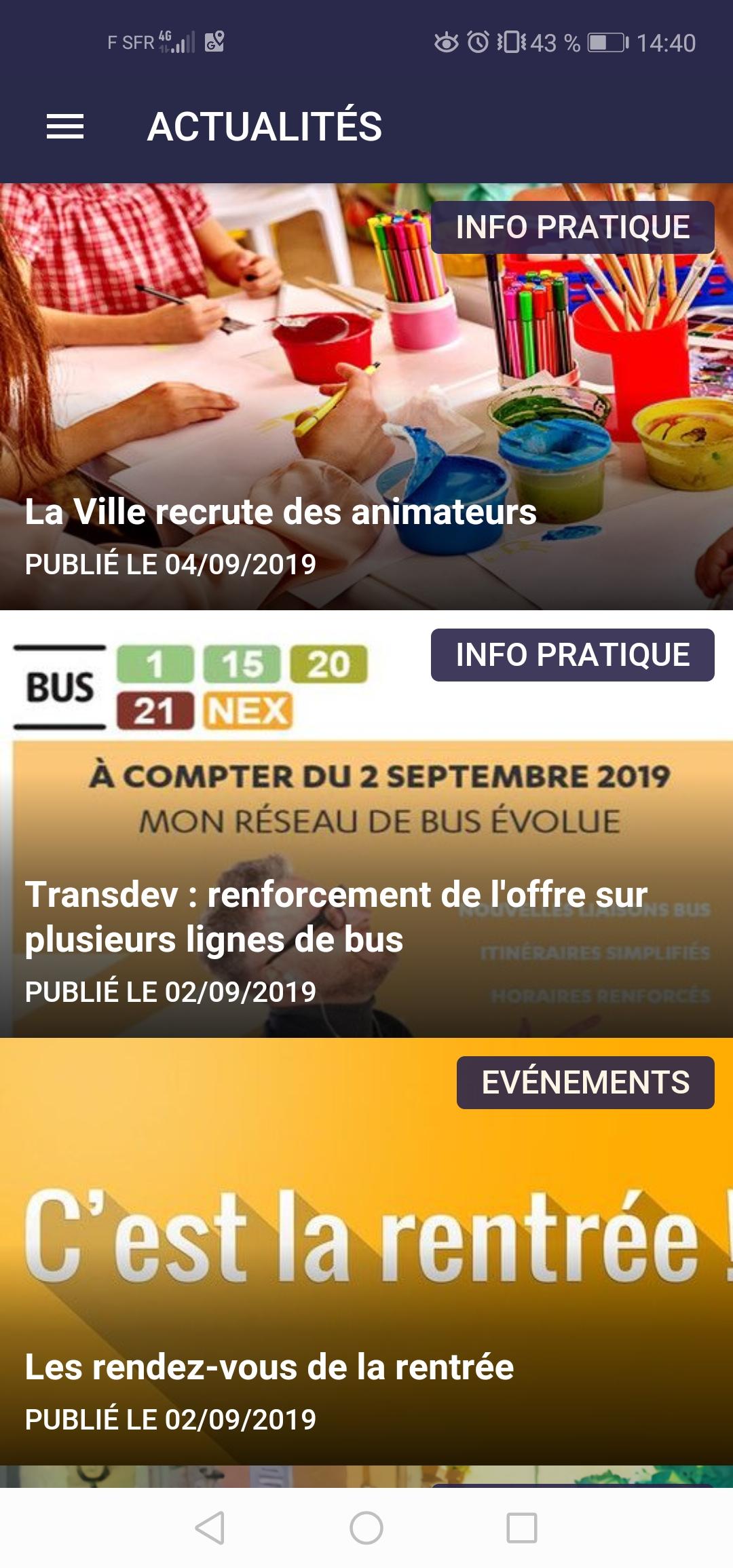 """Rubrique """"Actualités"""" de l'application mobile SGLL"""