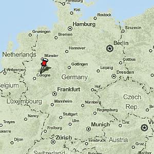 La ville de Schwelm sur une carte de l'Allemagne