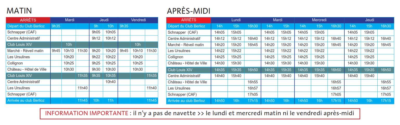 horaires navette municipale pour les seniors
