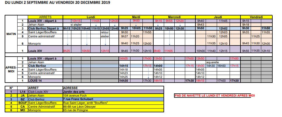 horaires de septembre à décembre 2019 de la navette seniors