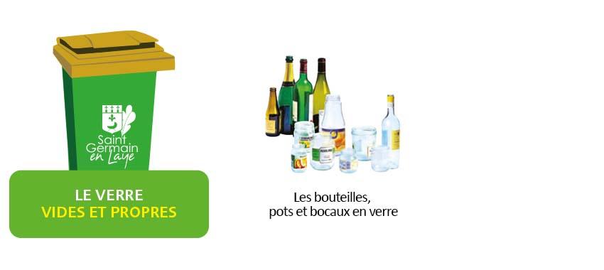 Les bouteilles, pots et bocaux en verre dans la poubelle verte