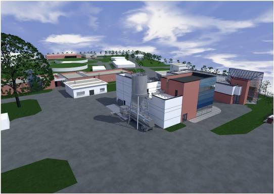 Projection 3D de l'unité d'adoucissement (au premier plan) intégrée à l'usine de production d'eau potable du Pecq-Croissy. © Arnaud Paquin Architecte