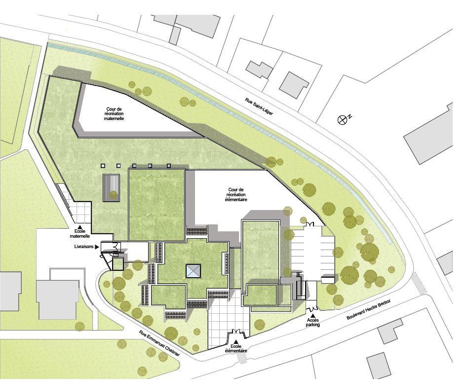 Plan masse de la nouvelle école Marie Curie