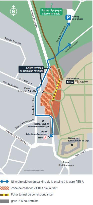 Plan de la réalisation du terminus Tram 13 express et du tunnel de correspondance avec la gare RER A