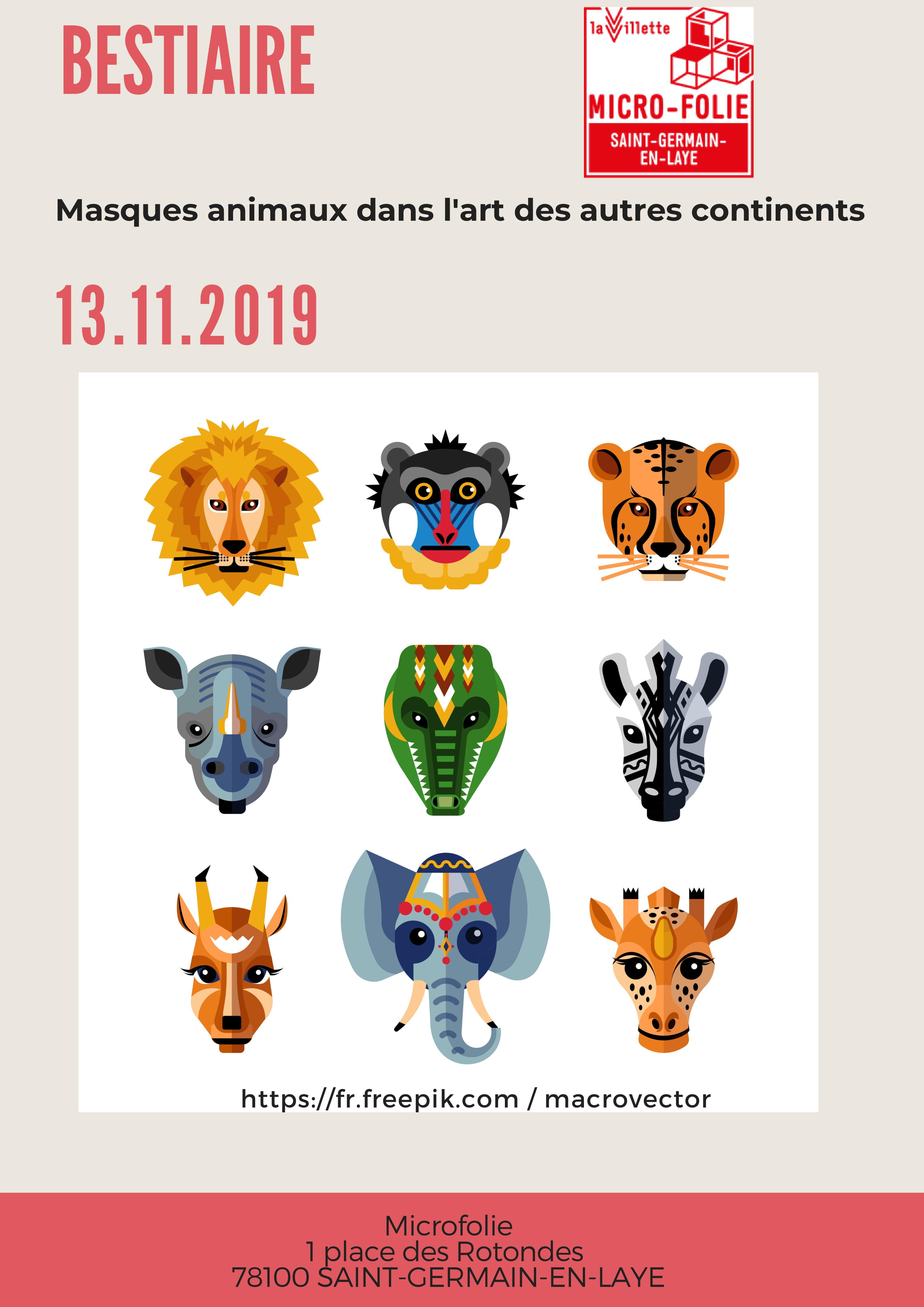 """Ateliers enfants """"Bestiaire : masques animaux dans l'art des autres continents"""""""